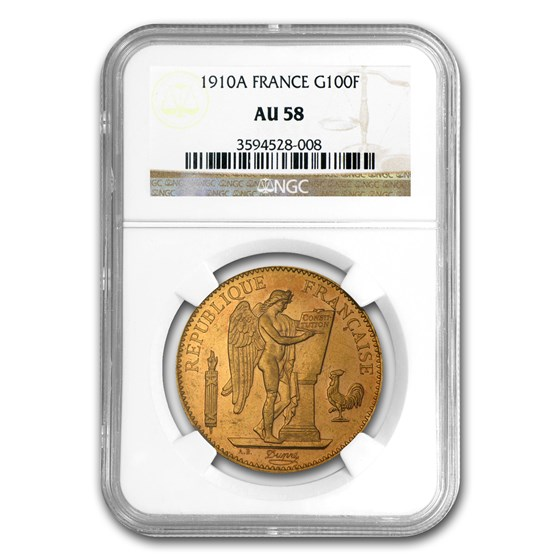 1878-1914 France Gold 100 Francs Lucky Angel AU-58 NGC