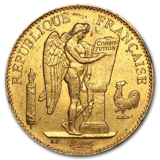 1878-1914 France Gold 100 Francs Lucky Angel (Avg Circ)