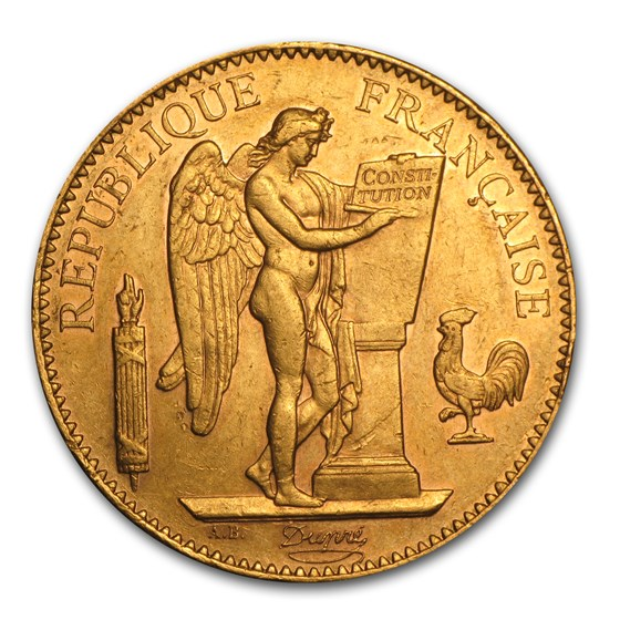 1878-1914 France Gold 100 Francs Lucky Angel (XF)