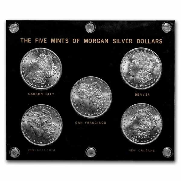1878-1921 5-Coin Morgan Dollar Mint Mark Set BU (Capital Plastic)