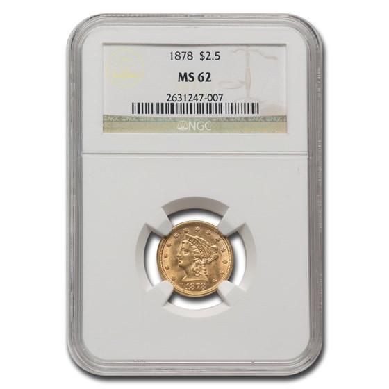 1878 $2.50 Liberty Gold Quarter Eagle MS-62 NGC