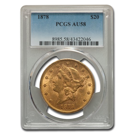 1878 $20 Liberty Gold Double Eagle AU-58 PCGS