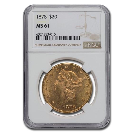 1878 $20 Liberty Gold Double Eagle MS-61 NGC