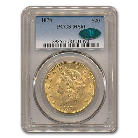 1878 $20 Liberty Gold Double Eagle MS-61 PCGS CAC