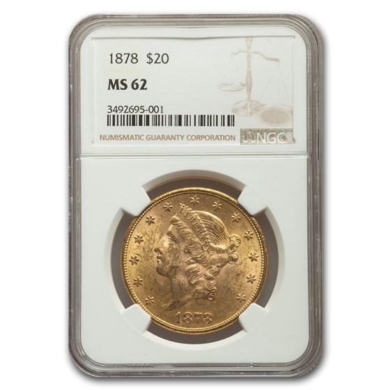 1878 $20 Liberty Gold Double Eagle MS-62 NGC