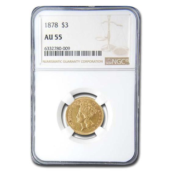 1878 $3 Gold Princess AU-55 NGC