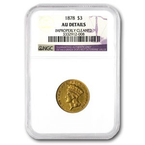 1878 $3 Gold Princess AU Details NGC (Cleaned)