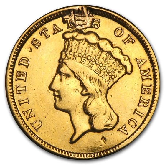 1878 $3 Gold Princess EF Details (Ex-Jewelry)