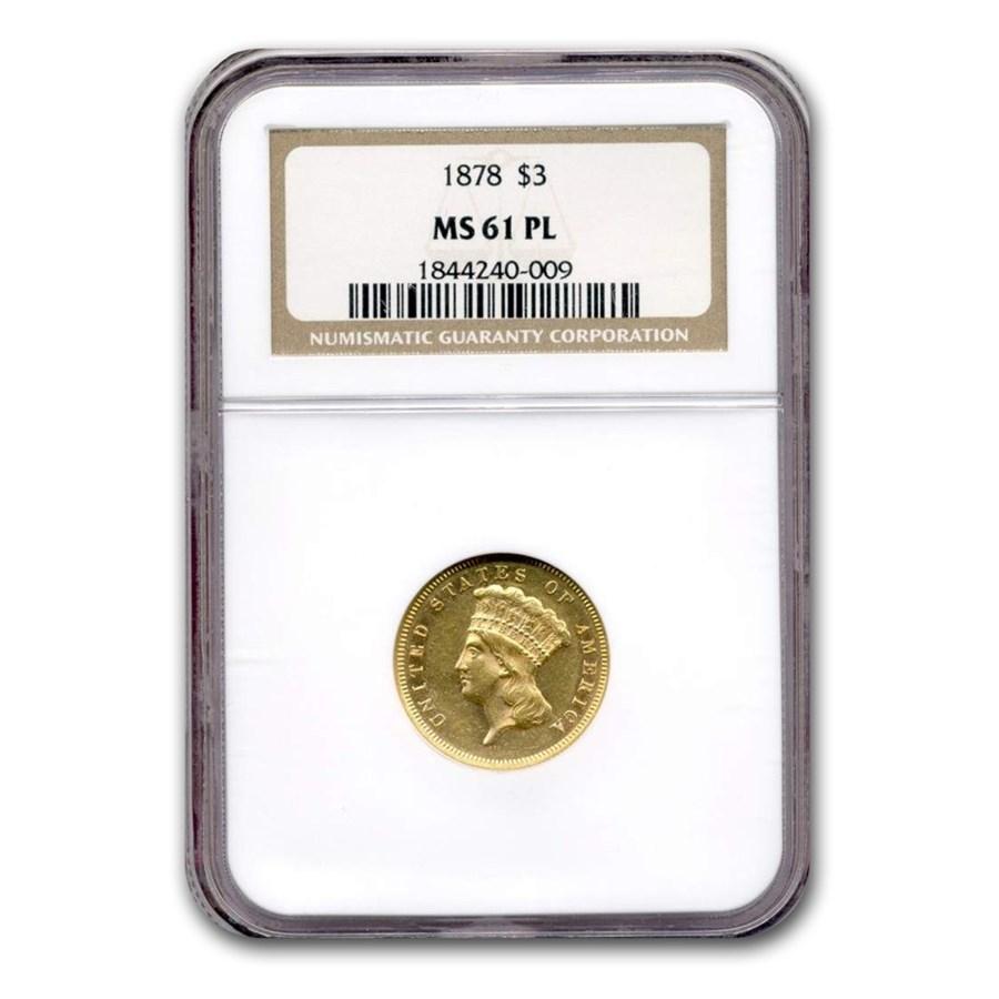 1878 $3 Gold Princess MS-61 NGC (PL)