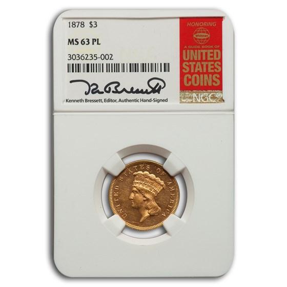 1878 $3 Gold Princess MS-63 NGC (PL)