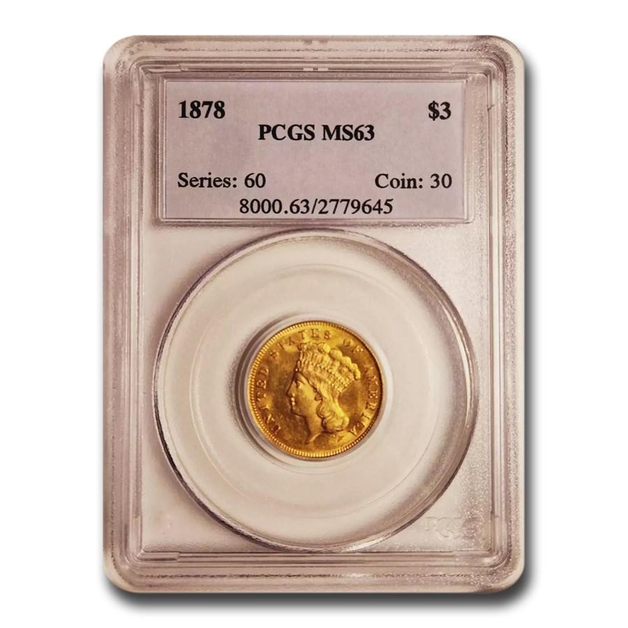 1878 $3 Gold Princess MS-63 PCGS