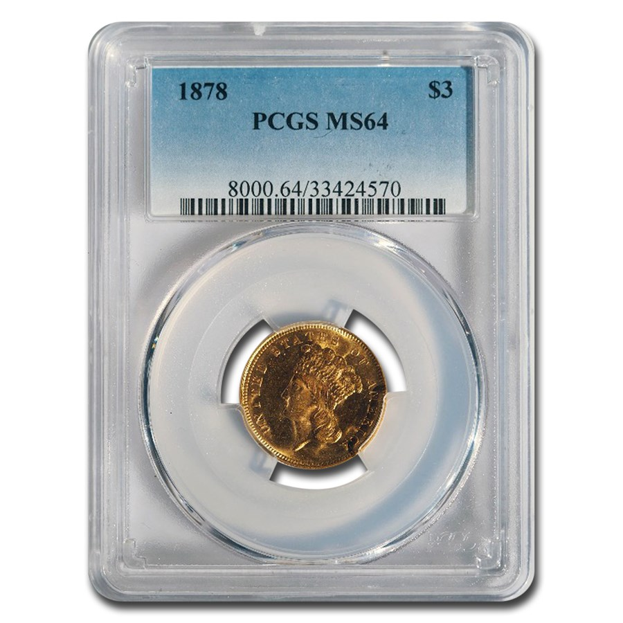 1878 $3 Gold Princess MS-64 PCGS