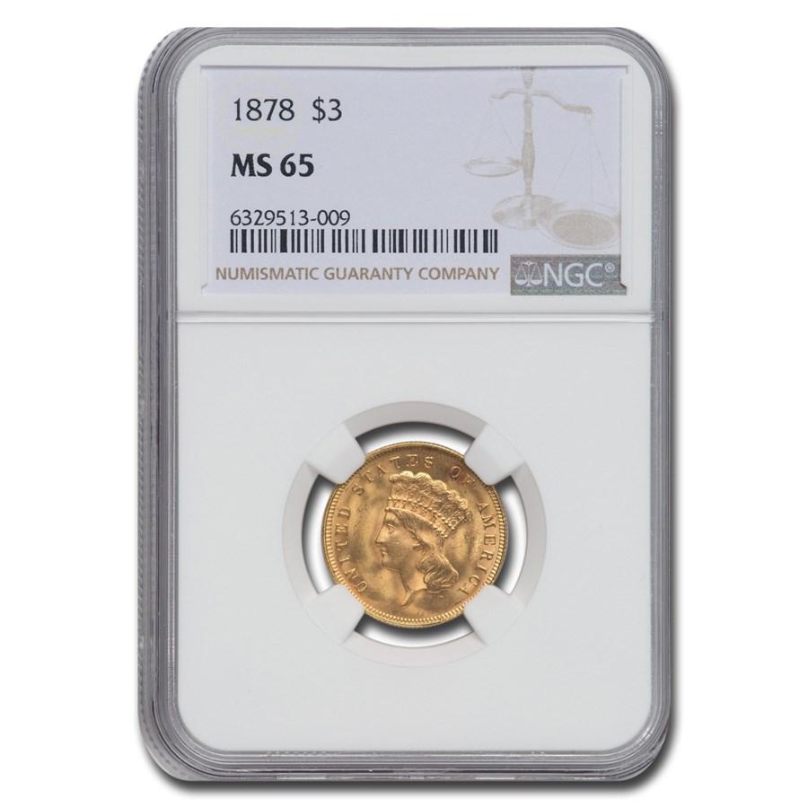 1878 $3 Gold Princess MS-65 NGC