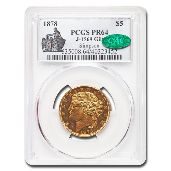 1878 $5.00 Gold Half Eagle Pattern PR-64 PCGS CAC (J-1569 GILT)