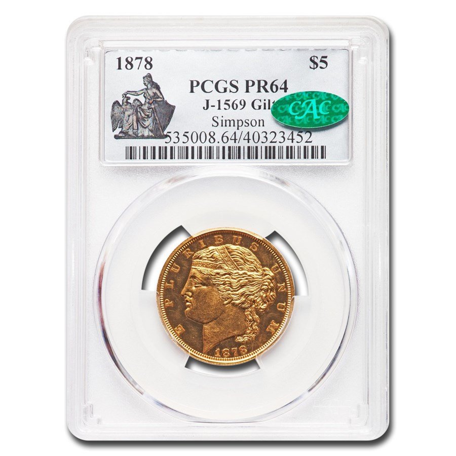 1878 $5 Gold Half Eagle Pattern PR-64 PCGS CAC (J-1569 GILT)
