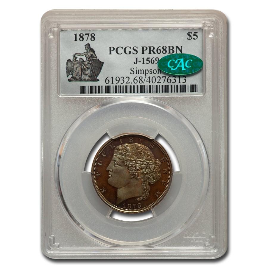 1878 $5 Pattern PR-68 PCGS CAC (Brown, J-1569)
