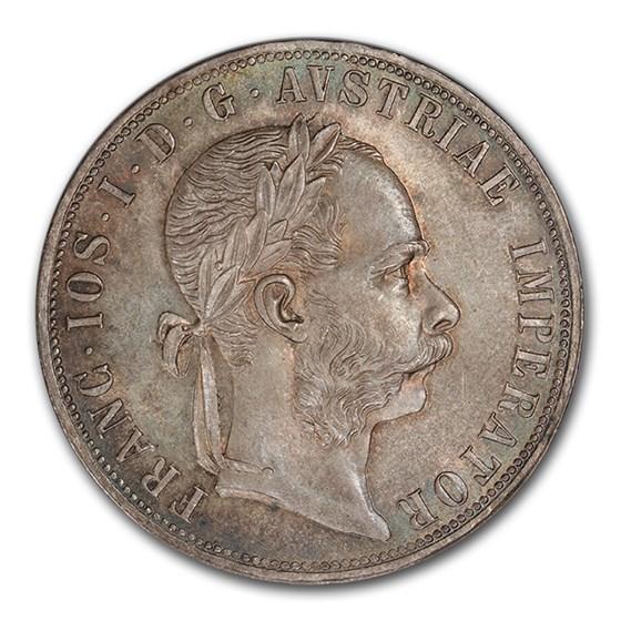 1878 Austria Silver 2 Florin Franz Joseph I MS-65 PCGS