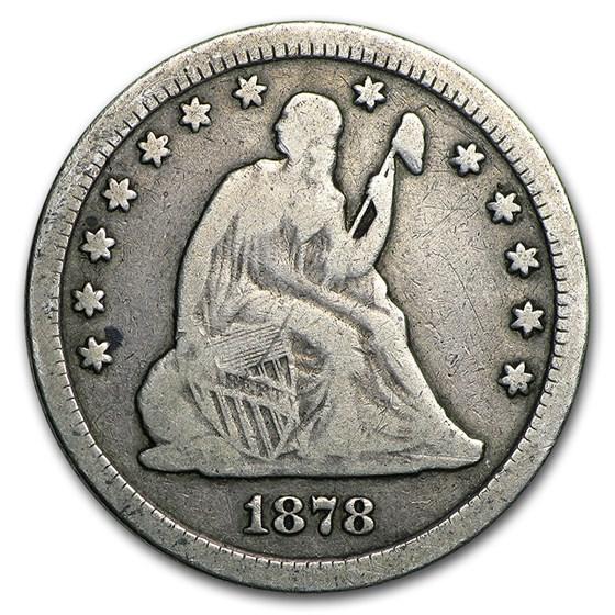 1878-CC Liberty Seated Quarter VG