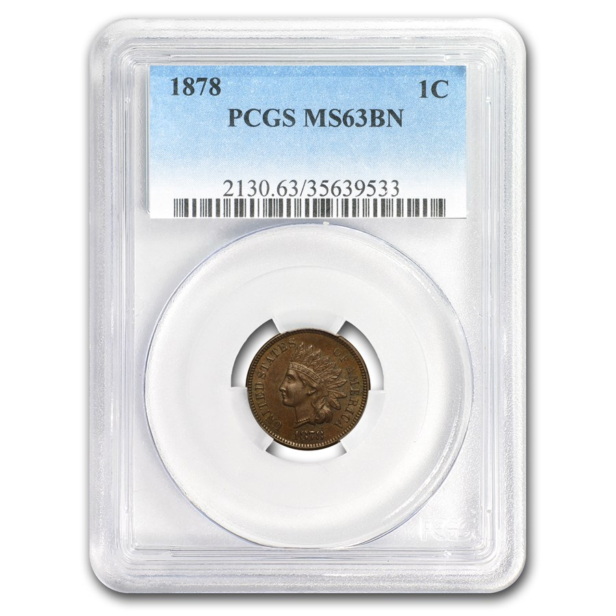 1878 Indian Head Cent MS-63 PCGS (Brown)
