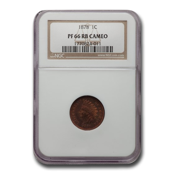 1878 Indian Head Cent PF-66 Cameo NGC (Red/Brown)