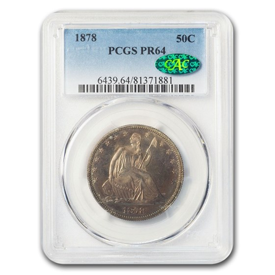 1878 Liberty Seated Half Dollar PR-64 PCGS CAC