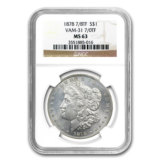1878 Morgan Dollar 7/0 TF MS-63 NGC (VAM-31, Lines Thru Leg)