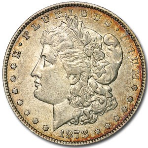 1878 Morgan Dollar 7/8 Tailfeathers XF Details (Cleaned)