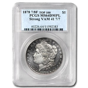 1878 Morgan Dollar 7/8 TF MS-64 DMPL (VAM-41, Strong, Top-100)