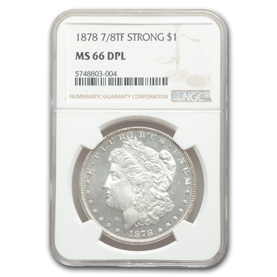 1878 Morgan Dollar 7/8 TF MS-66 NGC (DPL, Strong)