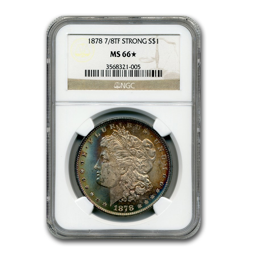 1878 Morgan Dollar 7/8 TF MS-66* NGC (Strong, Beautiful Toning)