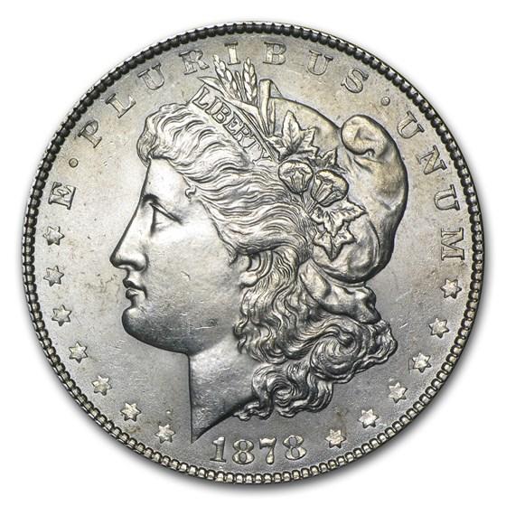 1878 Morgan Dollar 7 Tailfeathers Rev of 78 AU
