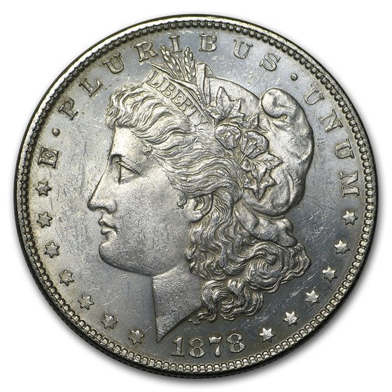 1878 Morgan Dollar 7 Tailfeathers Rev of 78 BU Details (Cleaned)