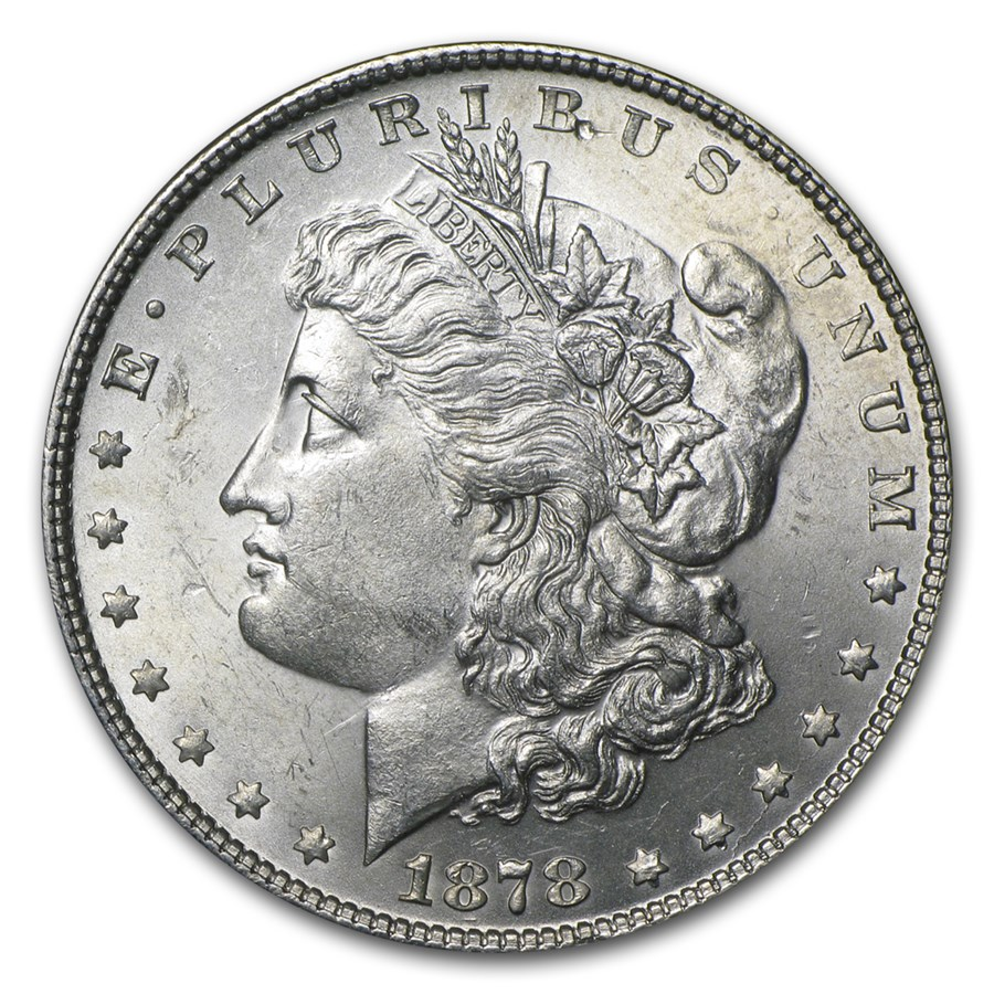1878 Morgan Dollar 7 Tailfeathers Rev of 78 BU