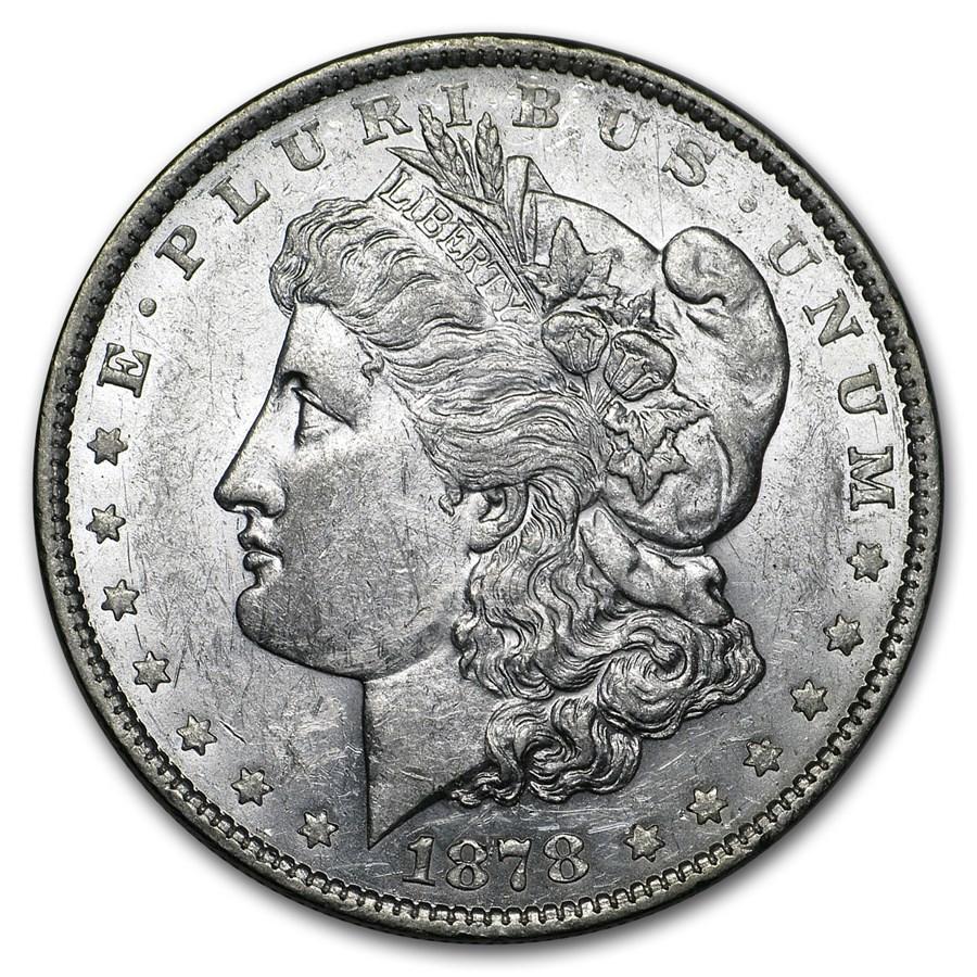1878 Morgan Dollar 7 Tailfeathers Rev of 79 AU-58