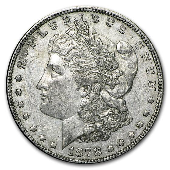 1878 Morgan Dollar 7 Tailfeathers Rev of 79 AU