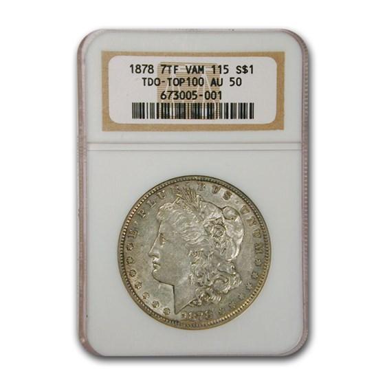 1878 Morgan Dollar 7 TF AU-50 NGC (TDO VAM 115 Top 100)