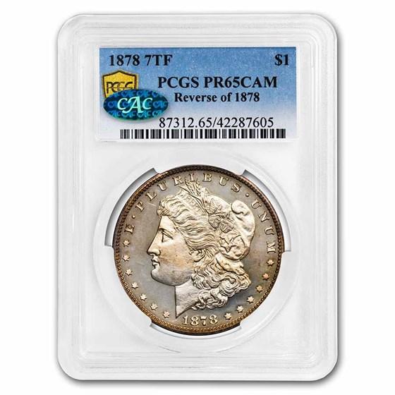 1878 Morgan Dollar 7 TF PR-65 Cameo PCGS CAC (Reverse of 1878)