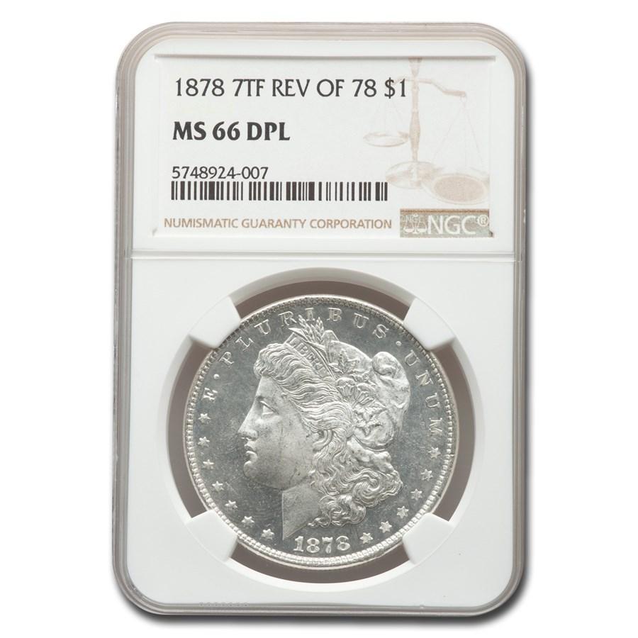 1878 Morgan Dollar 7 TF Rev of 78 DPL MS-66 NGC