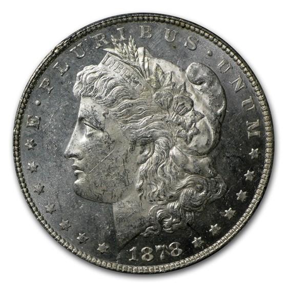 1878 Morgan Dollar 7 TF Rev of 78 MS-62 PL PCGS