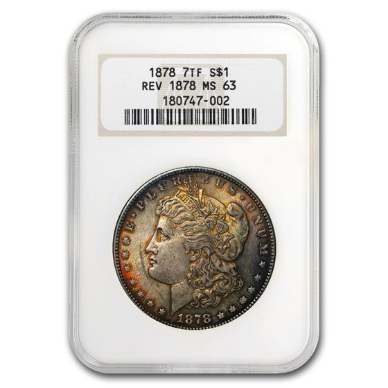 1878 Morgan Dollar 7 TF Rev of 78 MS-63 NGC (Beautifully Toned)
