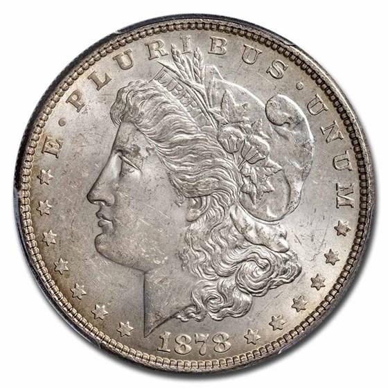 1878 Morgan Dollar 7 TF Rev of 78 MS-63 PCGS