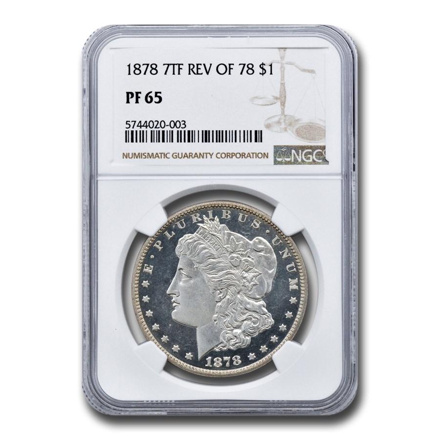 1878 Morgan Dollar 7 TF Rev of 78 PF-65 NGC