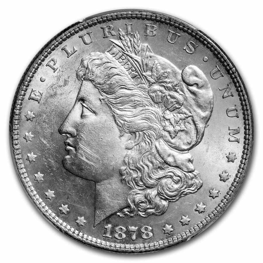 1878 Morgan Dollar 7 TF Rev of 79 MS-62 PCGS