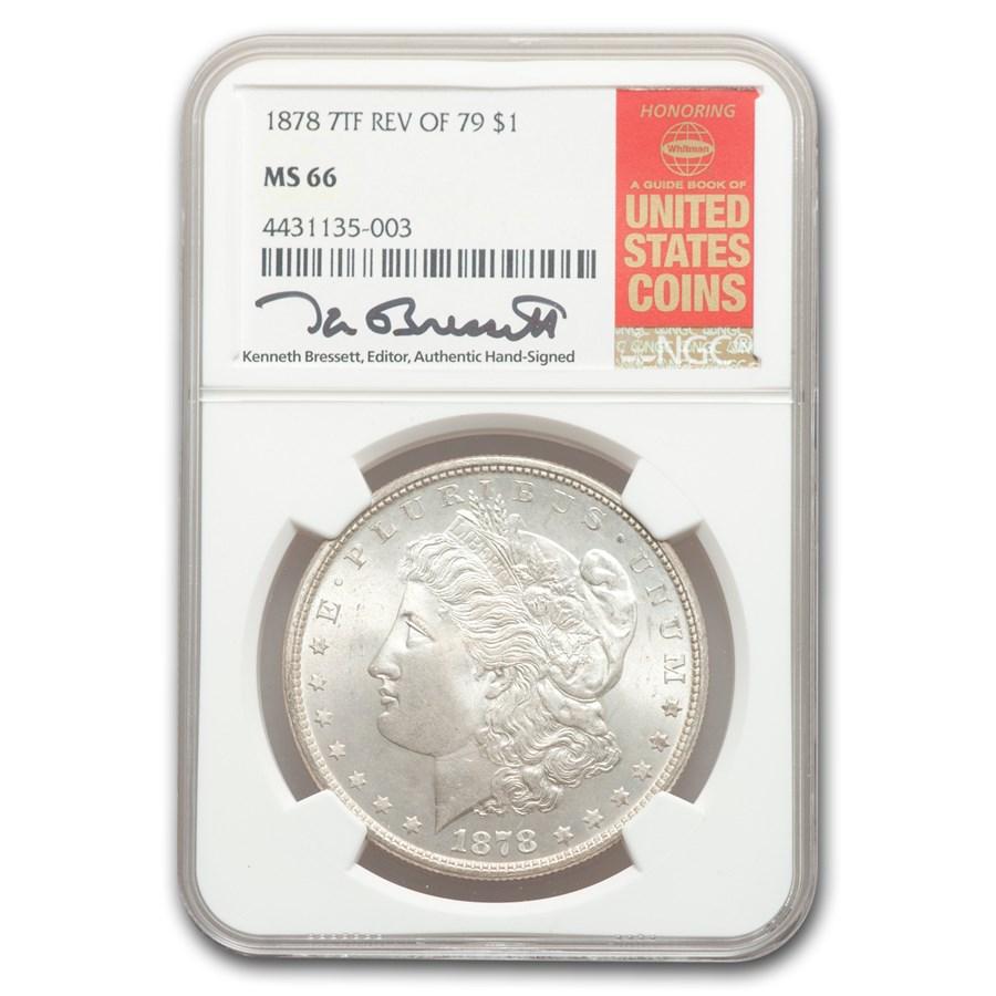 1878 Morgan Dollar 7 TF Rev of 79 MS-66 NGC