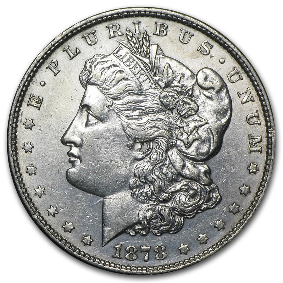 1878 Morgan Dollar 8 Tailfeathers AU