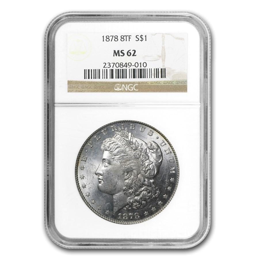1878 Morgan Dollar 8 TF MS-62 NGC
