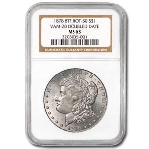 1878 Morgan Dollar 8 TF MS-63 NGC (VAM-20, Doubled Date, Hot-50)