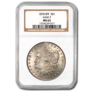 1878 Morgan Dollar 8 TF MS-63 NGC (VAM-7, Tripled E)