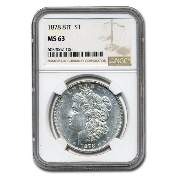1878 Morgan Dollar 8 TF MS-63 NGC