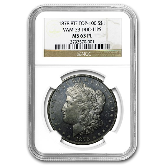 1878 Morgan Dollar 8 TF MS-63 PL NGC (VAM-23, DDO Lips, Top-100)